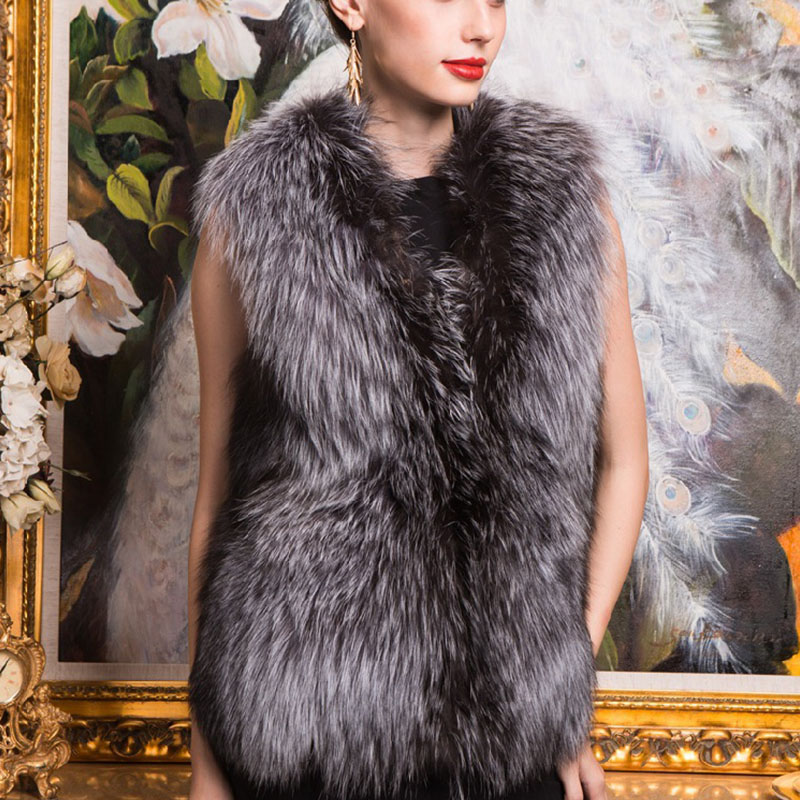 Gray Real Fox Fur Vest for women Real Fox Fur coat women Noble fashion luxury genuine Fur jacket coat women QS-83Одежда и ак�е��уары<br><br><br>Aliexpress