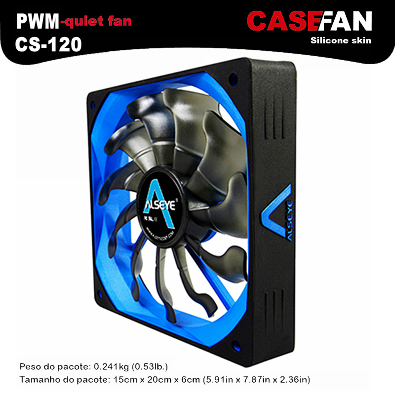 ALSEYE CS-120 cpu cooler 120mm silent PWM fan for computer 12v 4pin 500-2000RPM radiator silicone skin cpu fan cooling(China (Mainland))