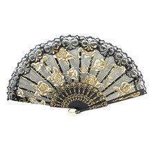 Open Width 46cm Gold Tone White Rose Black Lace Trim Hand Folding Fan Discount 50 24cm x 3.5cm x 2.2cm (L*W*T)(China (Mainland))