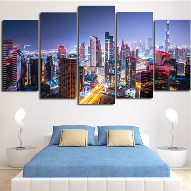 5peice Painting Calligraphy Wall Pictures Beautiful Night