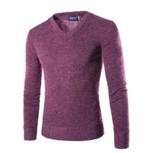 2018 v-목 스웨터 세련된 니트 긴 소매 남자 스웨터 남성 솔리드 bottoming 스웨터 풀 오버 7 색(China)