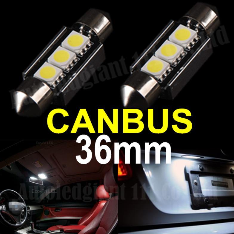 Cool White 2x Error Free Canbus 36mm Festoon 3 SMD 6418 C5W 12v Car Interior Led Bulb License Plate Light Audi Volkswagen  -  PJ Auto Tech Lighting store