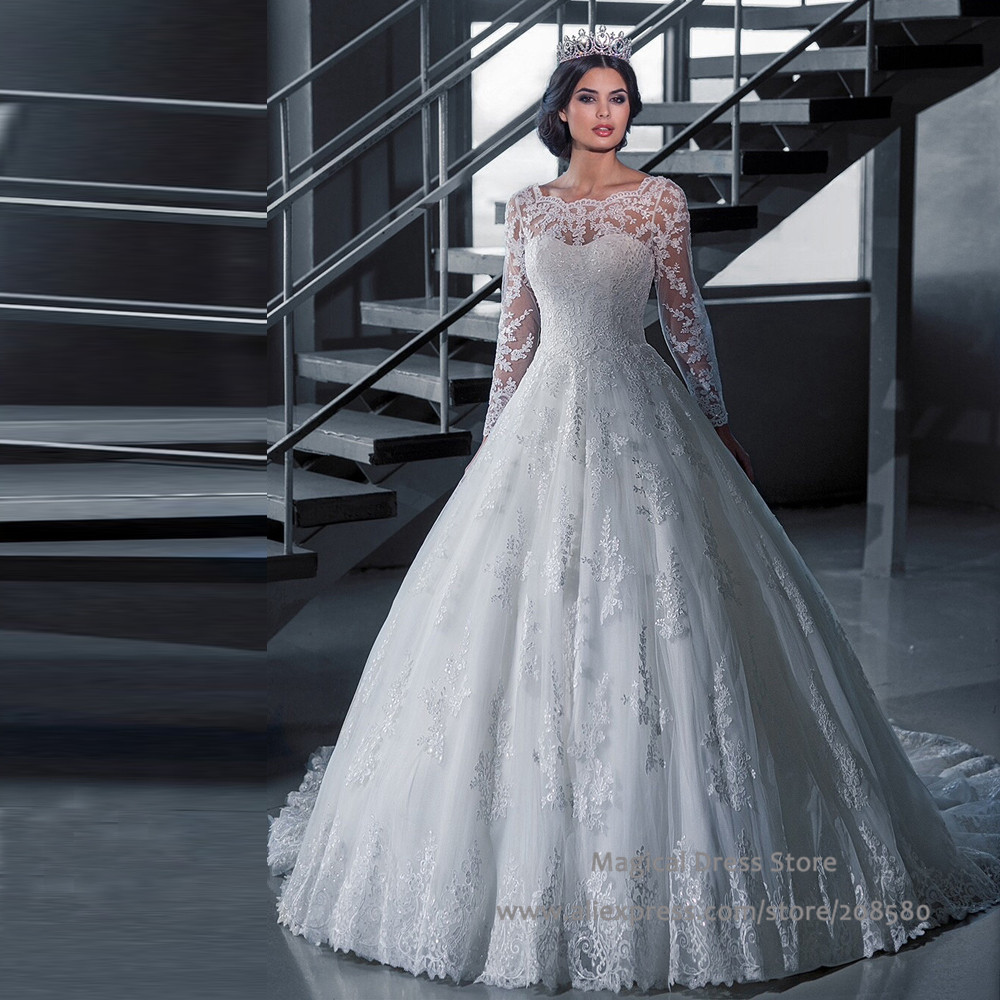 Chinese long sleeve wedding dress lace scoop bridal gowns for One sleeve wedding dress