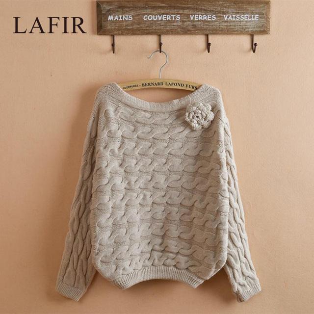 Koream мода женщин теплый вязаный свитер 2015 осень зима Batwing рукавом женщины ...