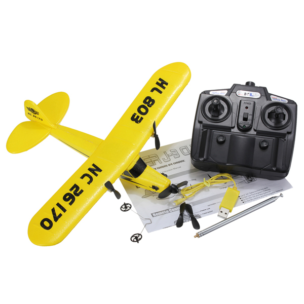 Newest arrival Sea gull EPP HL803 RTF air plane Rc plane PIPER J3 CUB NC26170 RC Airplane WL801 upgrade Fast shipping(China (Mainland))
