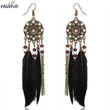 Black,red,blue and light coffee Long Feather Small Beads and Chain Tassel Beautiful Earrings For Women(China (Mainland))