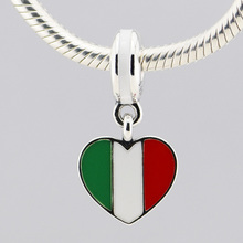 925 Sterling Silver Italy heart flag silver dangle with green, white and red enamel DIY Beads Fits Pandora Charms Bracelet FL236(China (Mainland))