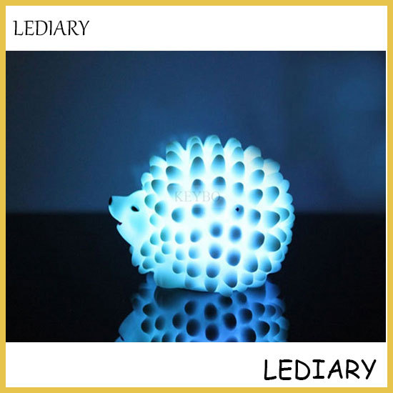 LED hedgehog night light/lamp desk lamp changeable-color Christmas present baby light home LED bedside light/lamp free shipping(China (Mainland))
