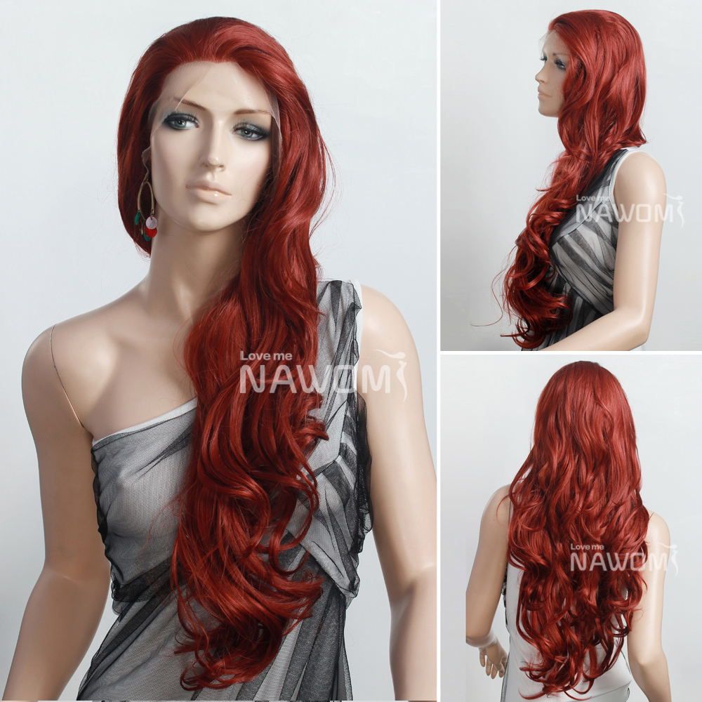 wholesale High Temperature Fiber long wave auburn color wigs free shipping(China (Mainland))