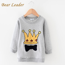 Bear Leader Kids Sweatshirts 2016 New Fashion Boys Girls Long Hoodie Kids Clothes Long Sleeve Crown Printing Design Boys Clothes(China (Mainland))