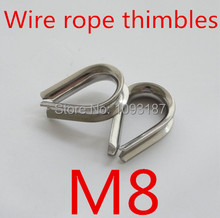 10pcs/lot M8 8mm Stainless Steel Wire Rope Cable Thimble Galvanized For WireRope Cable(China (Mainland))