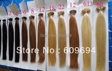 "18"" 20"" 22"" 24"" 100g/pack pre bonded stick hair I tip Keratin hair extensions 100% Indian Human Remy Hair black brown blond S202(China (Mainland))"