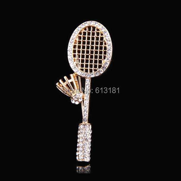NEW Free Shipping Luxury Crystal Badminton racket Brooch Pin 18K Rose Gold Plated Rhinestone Brooches Wholesale(China (Mainland))