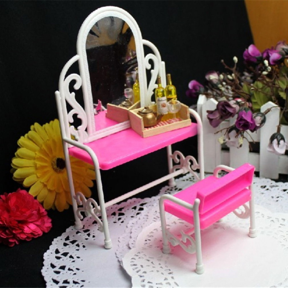 Dressing Table with Chair Accessories Set For Bar-bies Dolls Bedroom Furniture Dollhouse Furniture Free Shipping(China (Mainland))