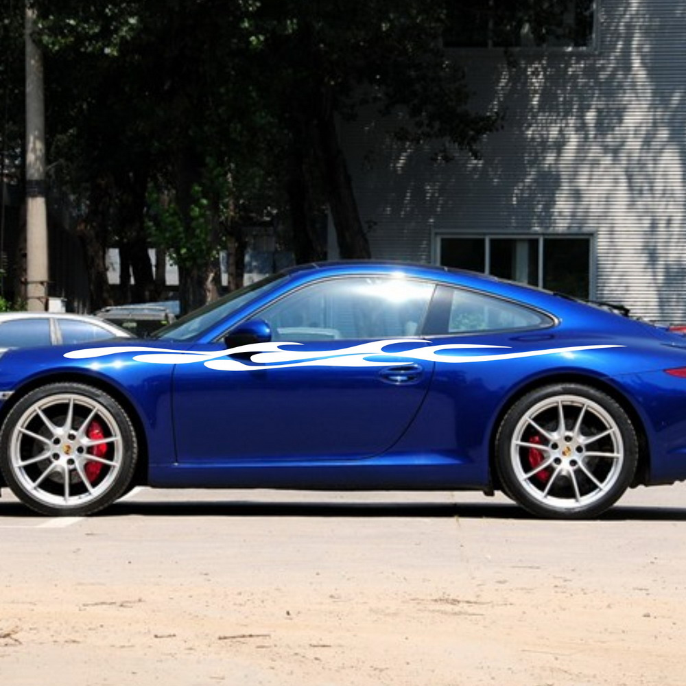 Blue car sticker design - Car Flames Fire Racing Door Decals For 911 Vinyl Graphics Side Stickers 807 China