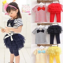 Hot Sale Kid Girl Stripe Bow Top T shirt Tutu Skirt Leggings Culottes 2pcs Outfit Sets