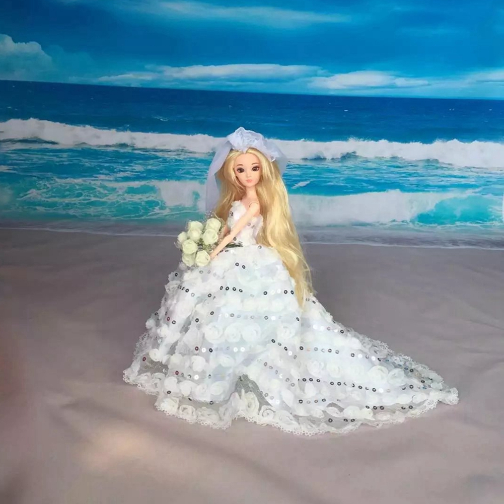 Scorching promoting Doll Costume Sexual Lengthy Tail's Night Robe Purely Handbook Garments Lace Marriage ceremony Costume for Barbie Dolls with Cute Veils