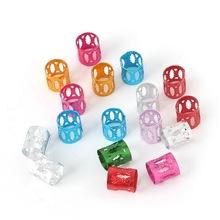 Livraison gratuite 100 pcs/lote multicolore dreadlock perles réglable cheveux liens perles 8 * 9 mm aluminium Tube perles(China (Mainland))