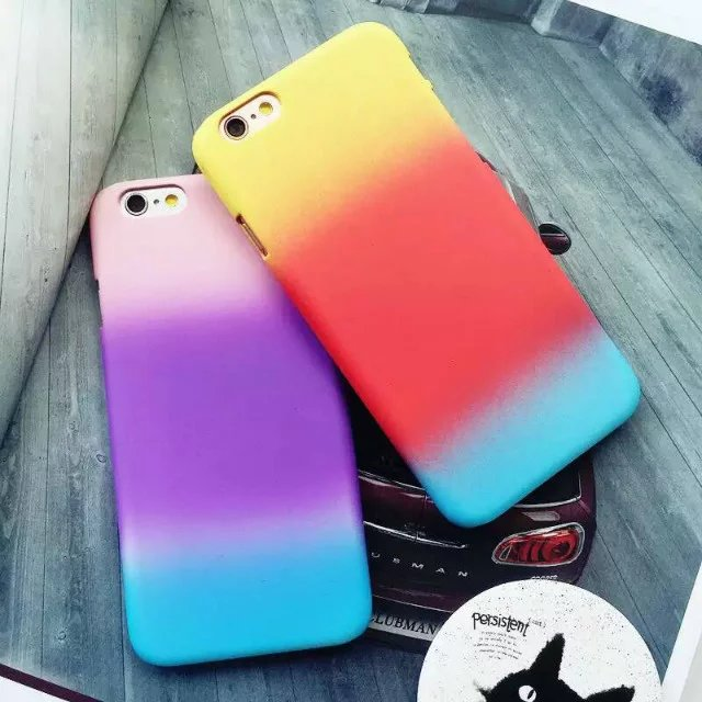 Fashion Beautiful Fun Rainbow Style Hybrid Gradual Change Silicone Gel plastic Back cover For iphone 6 6s plus phone case capa B(China (Mainland))
