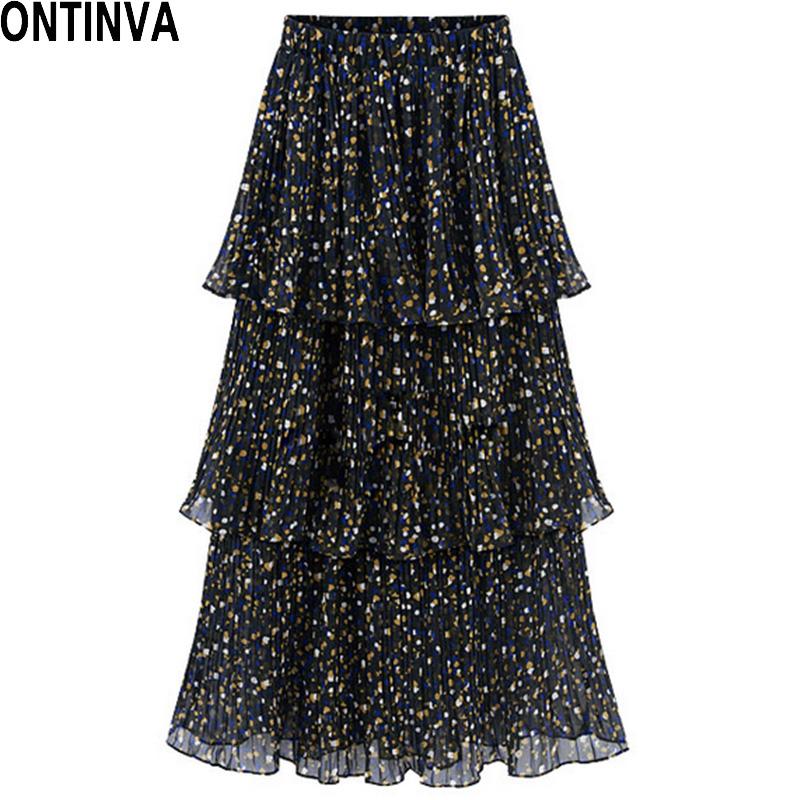 dot print pleated skirt midi length skirt european