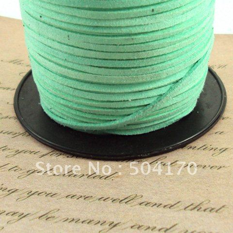 Wholesale 100meter/lot Light Green 2.5*1.5mm Imitated Suede Leather String Jewelry Finding Free Shipping 372(China (Mainland))