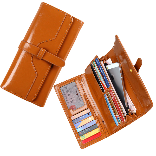 3 Fold Fashion Long Genuine Leather Women Wax Wallets Hasp Cellphone Pocket Female Clutch Carteiras Femininas Women Purse Wallet(China (Mainland))