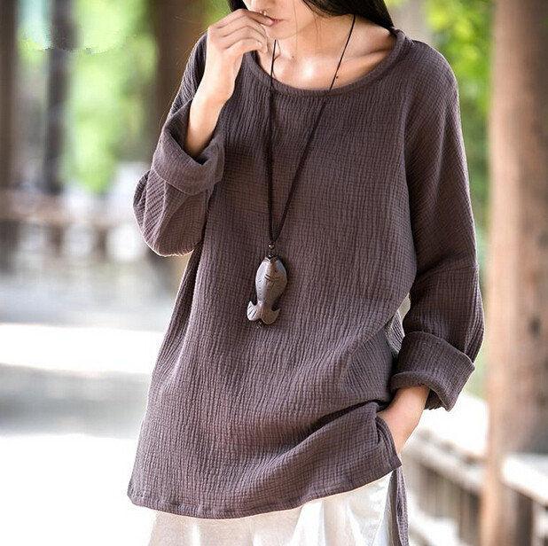 2016 women casual cotton linen shirts tops long sleeve for Long linen shirts for womens