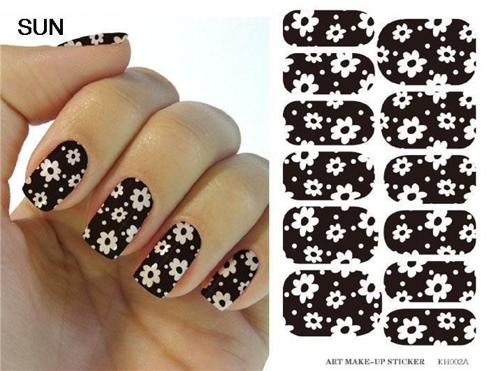 Water Transfer Foil Nail Art Sticker White Flower Design Black Nails Sticker Manicure Decor Styling Tool Finger Nail Wraps Decal(China (Mainland))
