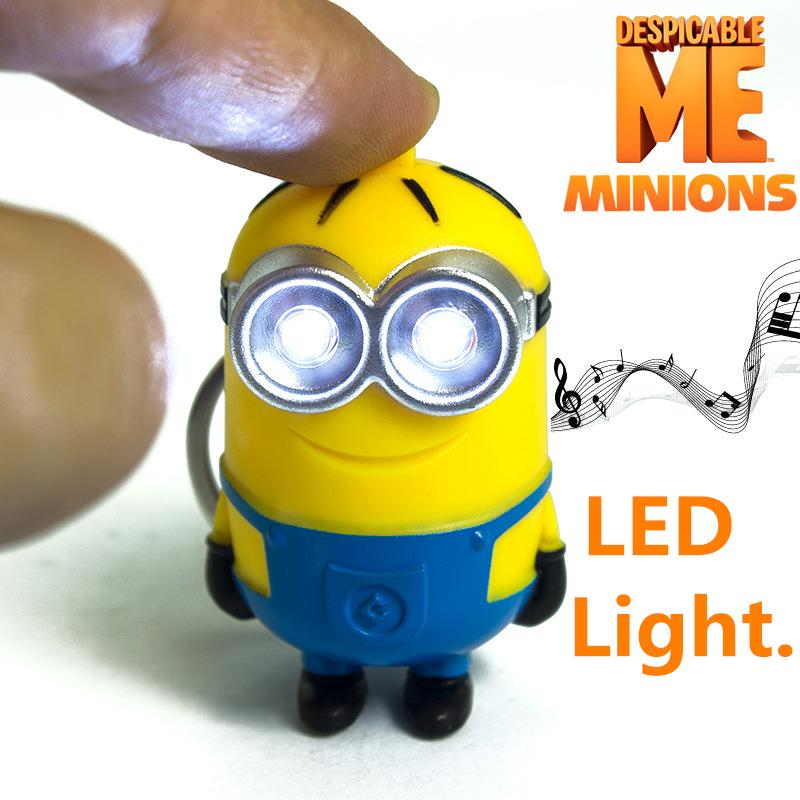 led minion action figures minions family cartoon keychain toys despicable me 3d eyes model electronic toys for kid gifts db