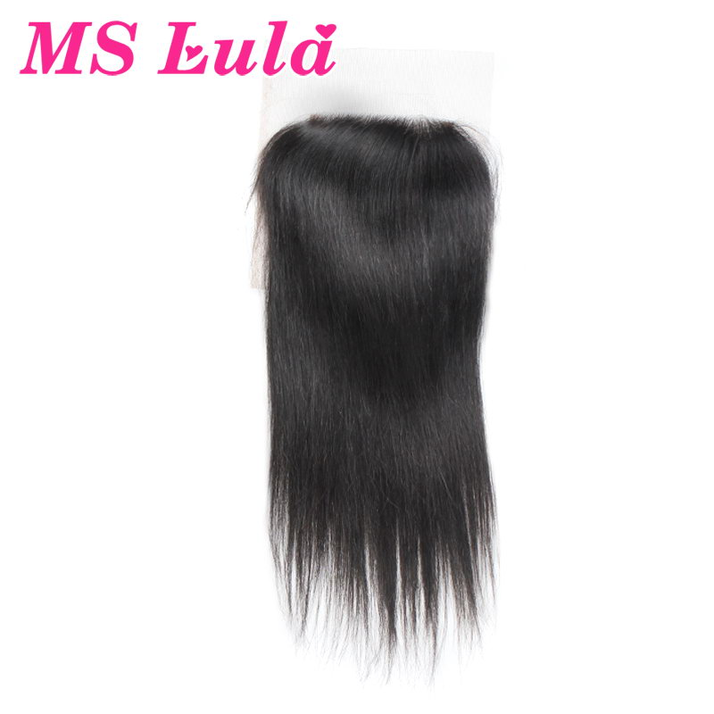 Ms Lula hair Indian virgin hair Top Lace Closure 4X4 swiss lace size 130 density Free Shipping DHL