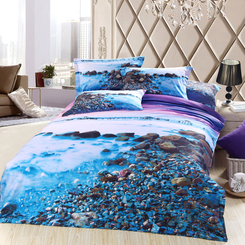 Blue and Purple Stone Lake 3D Print Bedding Set Queen Size,100% Cotton Bedroom Sets Duvet Cover Bedsheet Pillowcase Bed in a Bag(China (Mainland))