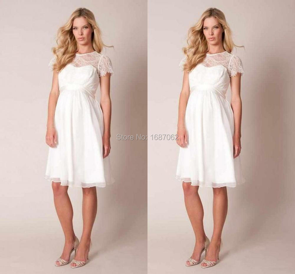 Short Maternity Wedding Dresses: 2015 New Maternity Lace Short Wedding Dresses Knee Length