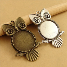 Buy 10pcs/lot Antique Bronze Owl Pendant Settings Cabochon Base Bezel Trays Blank Fit 20mm Glass Cabochons DIY Necklace Making for $2.78 in AliExpress store