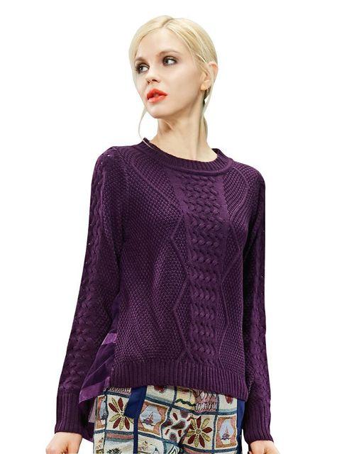 ELF SACK Модный brand 2015 spring Женщины gauze patchwork sweet pullover свитер ...