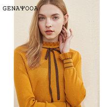 2019 для женщин свитеры для и пуловеры Роскошные кружево до лук воротник вязаный шерстяной свитер Винтаж на весну зиму джемпер(China)
