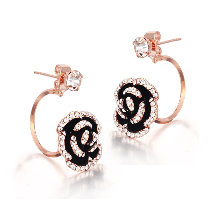 NICETER Elegant Design Micro CZ Paved Flower Stud Earrings Women Wedding Gold Brincos - Niceter Jewelry store