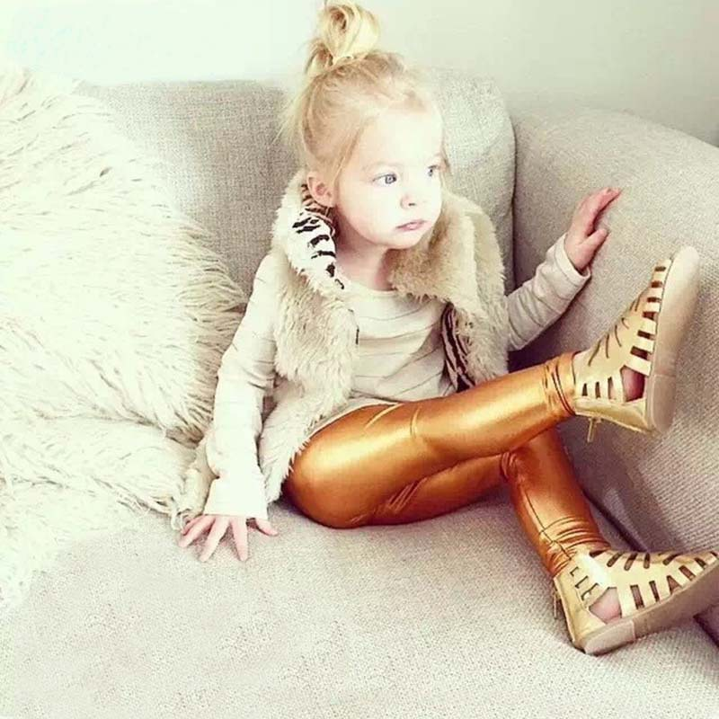 2016 new baby clothing baby wild pencil pants colorful red gold silver black leather pants pants suitable for 4--8 years girls(China (Mainland))
