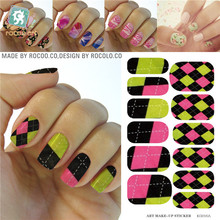 Water Transfer Mixed Corlor Tartan Design Nails Stickers Manicure Styling Tools Water Film Paper Decals