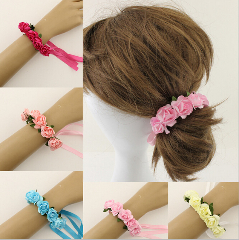 2015 Fashion Bride/Bridesmaid Wedding Flower Hair Band Holiday Beach Bohemian Floral Headband Jewelry Accessories Drop Shipping(China (Mainland))