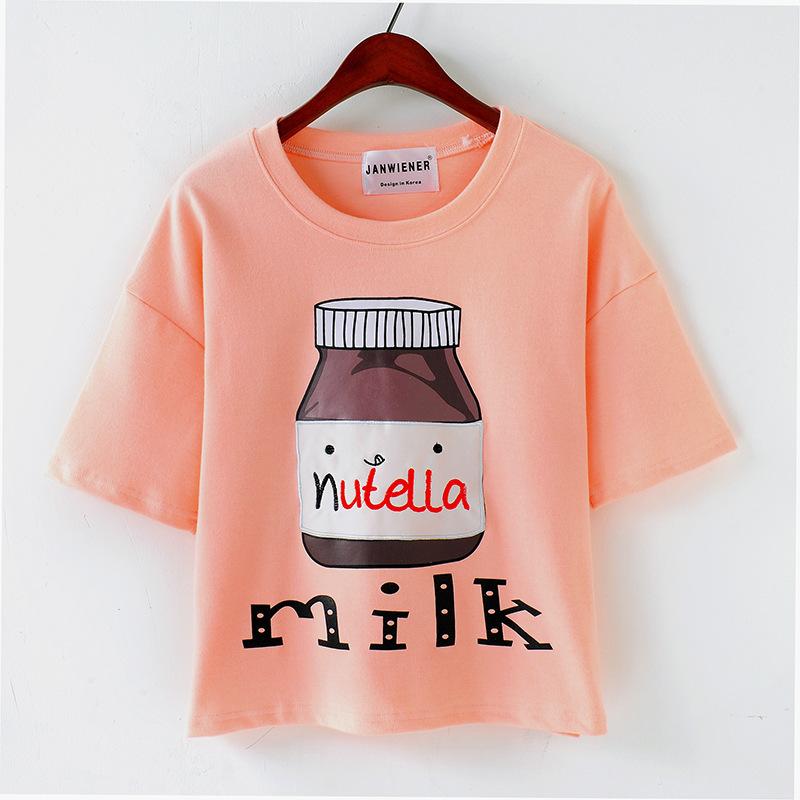 New 2015 Spring Summer Fashion High Quality Brand T Shirt Women Milk Printed Short Sleeve T-Shirt Tops(China (Mainland))