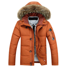 2016 New Winter Jacket Men Slim Fashion Hooded Parkas Hombre Invierno Plus Size Mens Jacket Down Duck 90% Casulai black Jacket(China (Mainland))