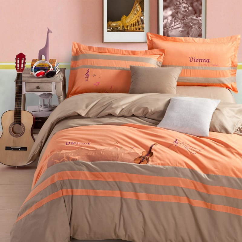 vienna bedding sets embroidery bed set grey 100 cotton grey and orange comforter