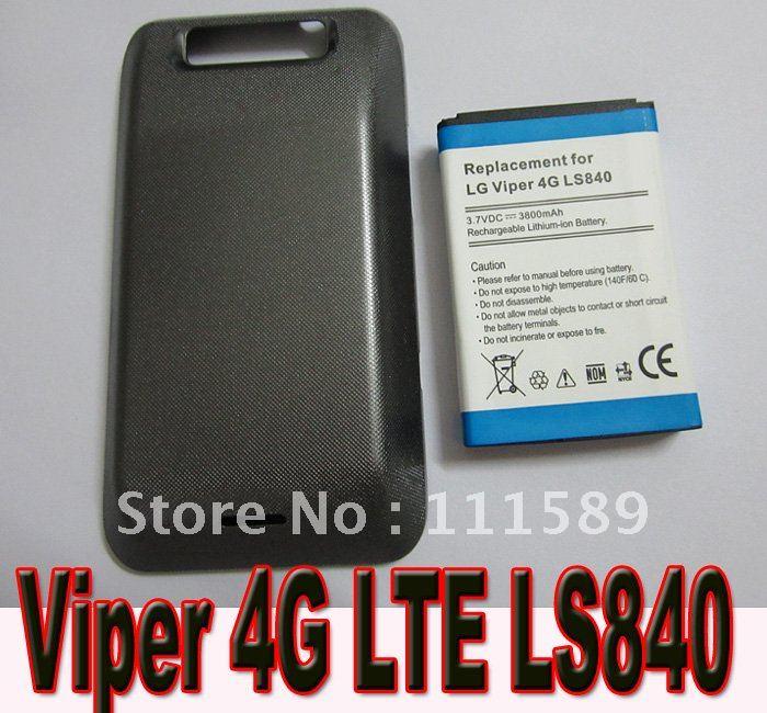 2pcs / lot free shipping 3800mAh Extended Battery + Back Cover Case for LG Viper 4G LS840 LTE Sprint Phone(China (Mainland))