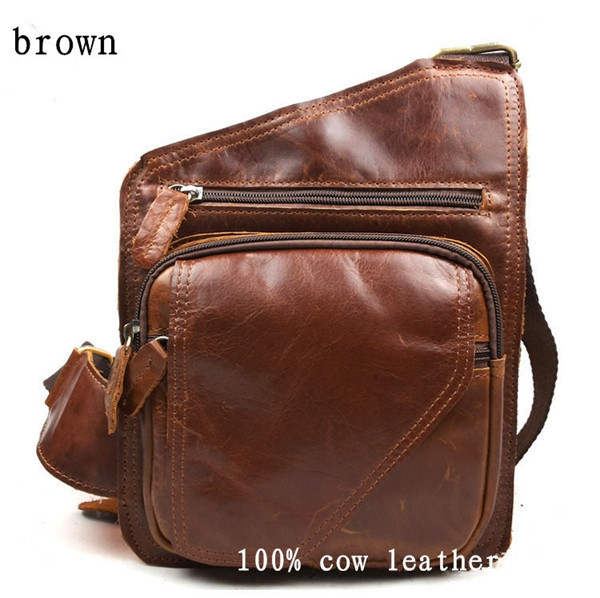 2015 Genuine Leather Big Messenger Bags For Men Vintage Casual Style