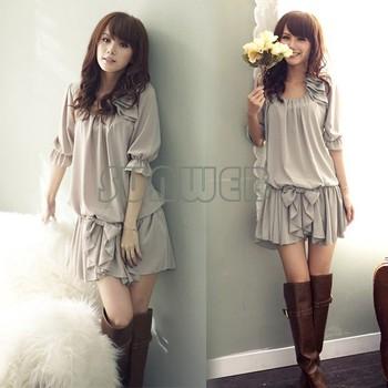 Free Shipping New ladies' summer Fashion Casual Ruffle Bowknot Mini Chiffon Dress M,L,XL 35