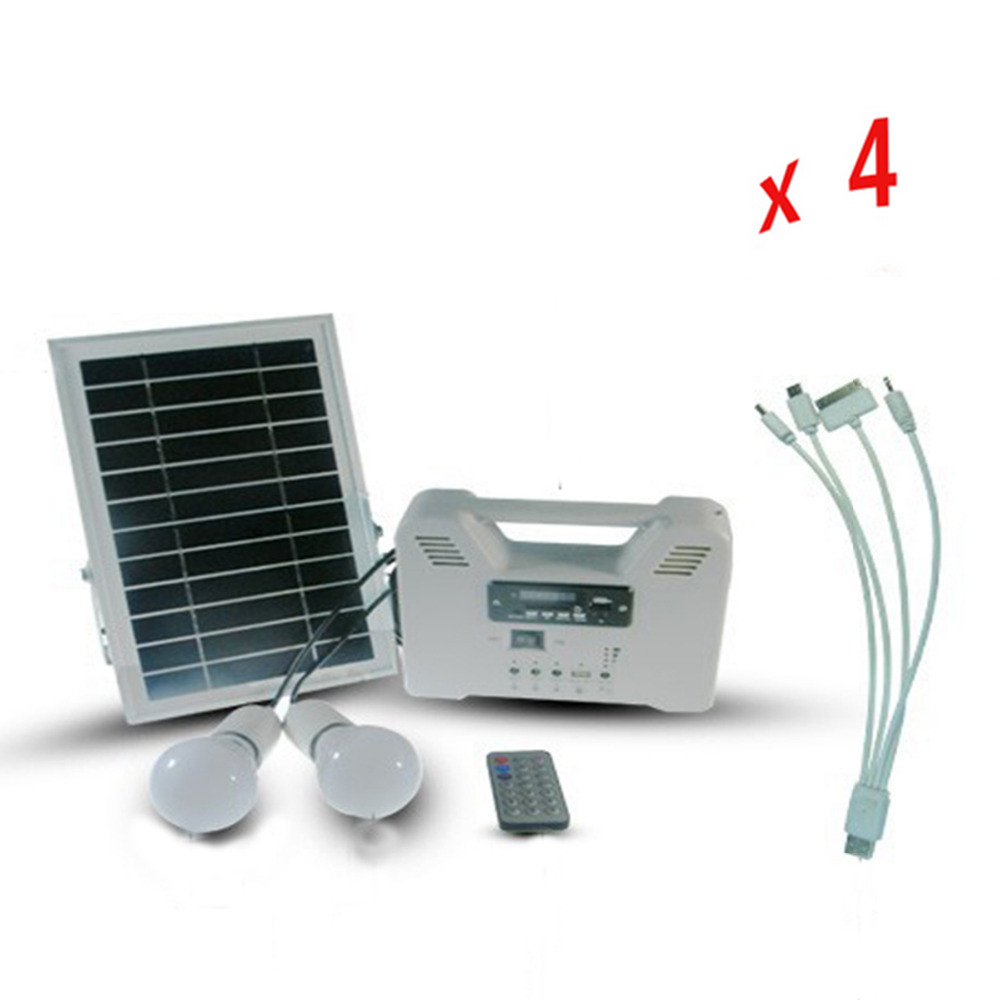 4pcs Portable Solar Home Lighting System Led Bulb with Pv Panels with Radio MP3 USB 5V Function Solar System(China (Mainland))