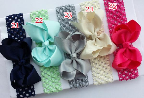 "20pcs/lot 4"" Baby Bow Hair Bowknot crochet Headbands Infant Hair Clip Accessories Girl Toddler hair band Christmas Gift O21-25(China (Mainland))"