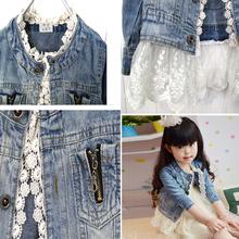 Girls Kids Lace Cowboy Jacket Denim Top Button Costume Outfits Jean Coat 2 7T