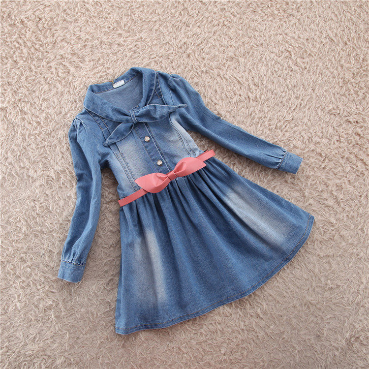 New korean 2015 spring baby clothing girls vestidos denim Long-Sleeve casual dress kids Cotton party dresses от Aliexpress INT