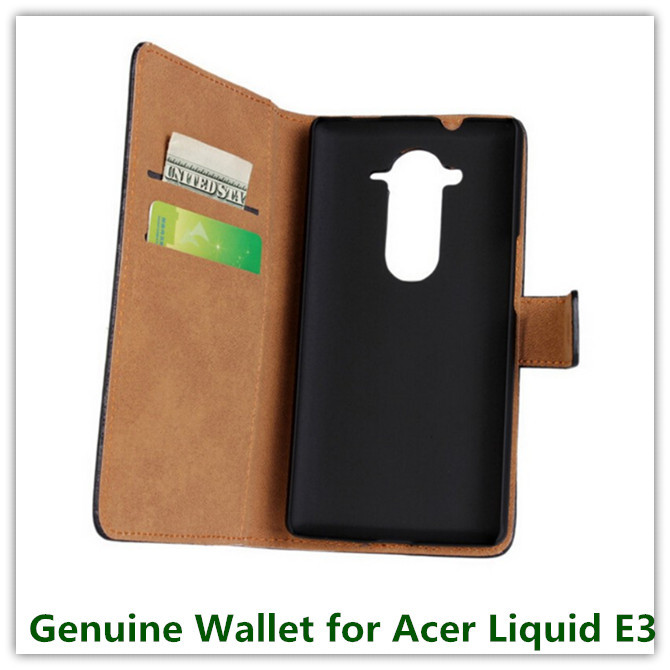 10PCS New Genuine Leather Really Slot Stand Pouch Wallet Purse Case for Acer Liquid E3 E380 (4.7
